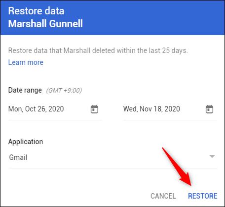 select date range and restore option