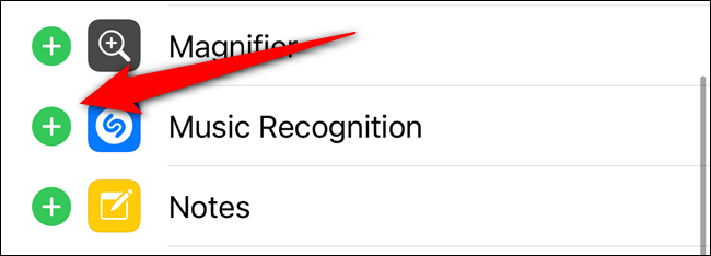 "Select the ""+"" icon next to ""Music Recognition"""