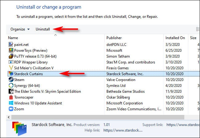 """In Programs and Features, select the app you want to uninstall and click """"Uninstall."""""""