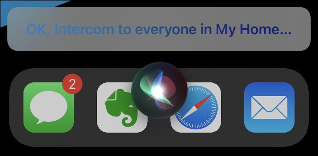 An Intercom Message in Siri.
