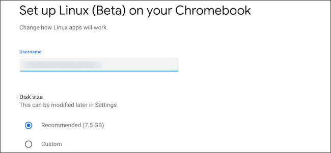 Configure o tamanho do disco e nome de usuário do Linux no Chromebook