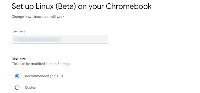 Configure Linux disk size and username on Chromebook