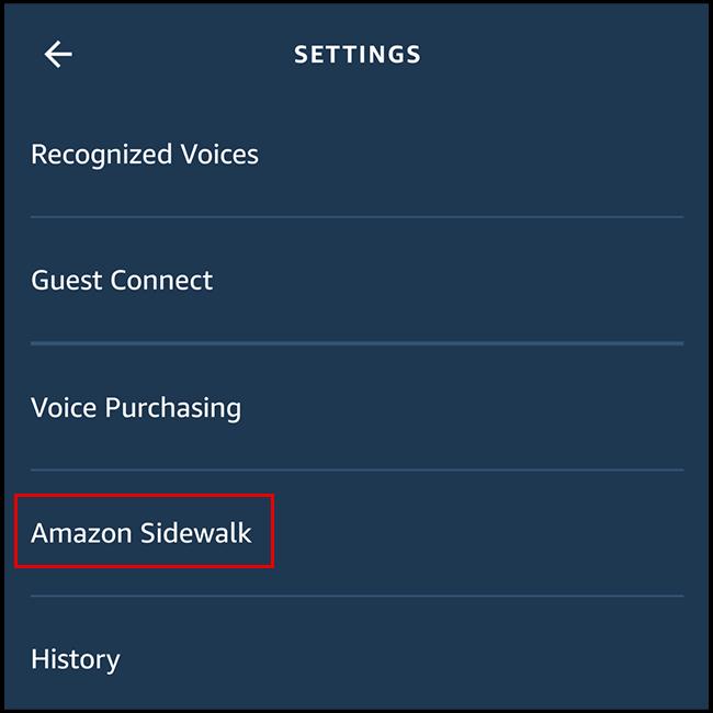 """Select """"Amazon Sidewalk"""""""