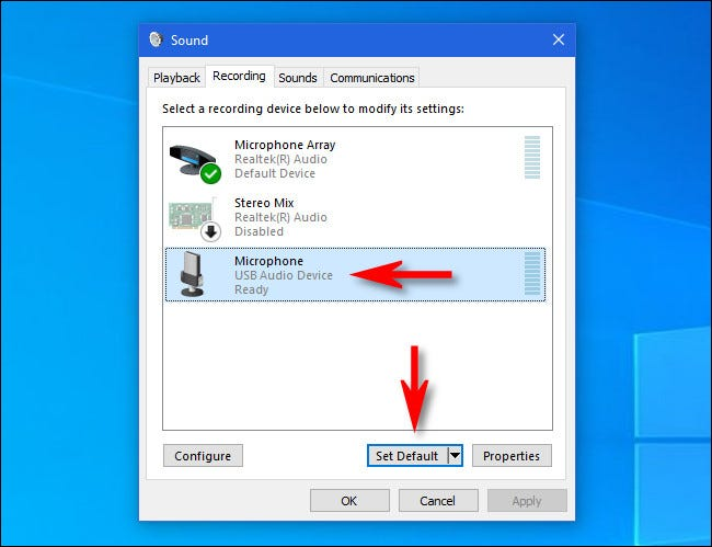 """In Windows 10, click the microphone in the list and click the """"Set Default"""" button."""