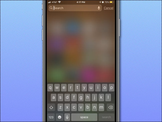 Spotlight search from Home screen on iPhone with no Siri suggestions.