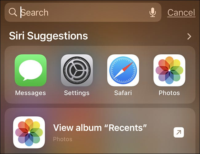 An example of Spotlight search on iPhone Home screen with Siri suggestions