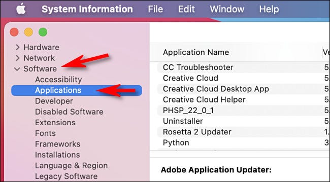 """In System Information, click """"Software"""" then """"Applications"""" in the sidebar menu."""