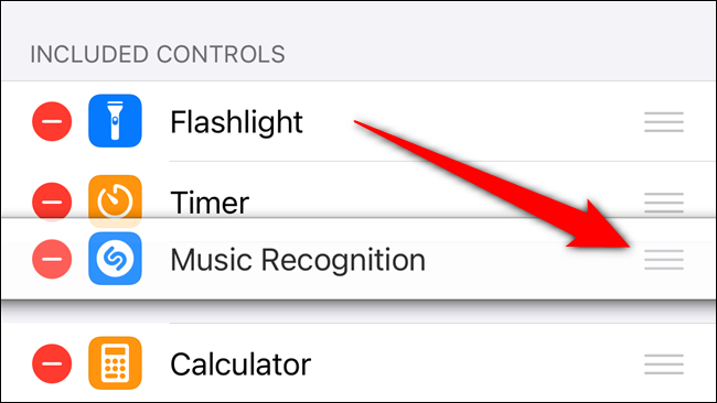 Tap and hold on the handle to rearrange the Shazam button's placement in Control Center