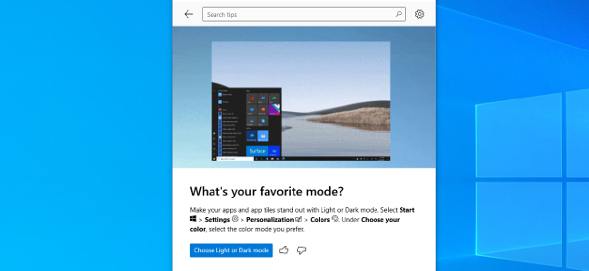 The Tips app showing what's new on Windows 10