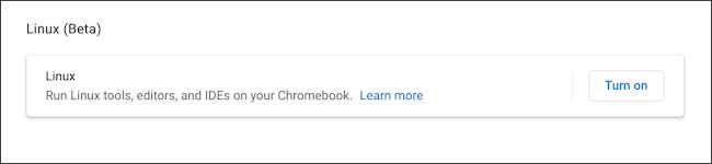 Turn on Linux on Chromebook