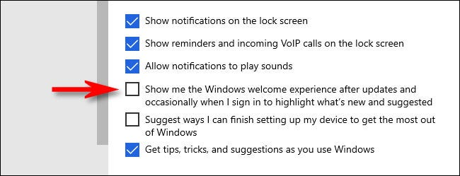 """In Windows Settings, uncheck """"Show me the Windows welcome experience after updates and occasionally when I sign in to highlight what's new and suggested."""""""