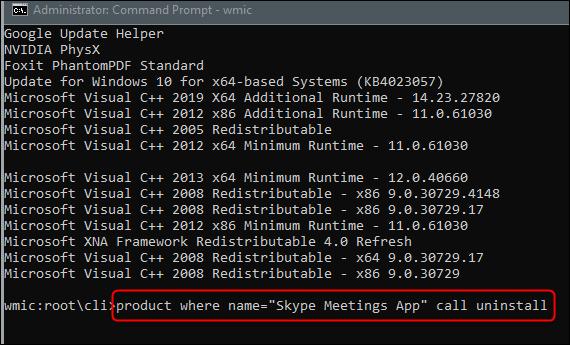 Run the uninstall program command.