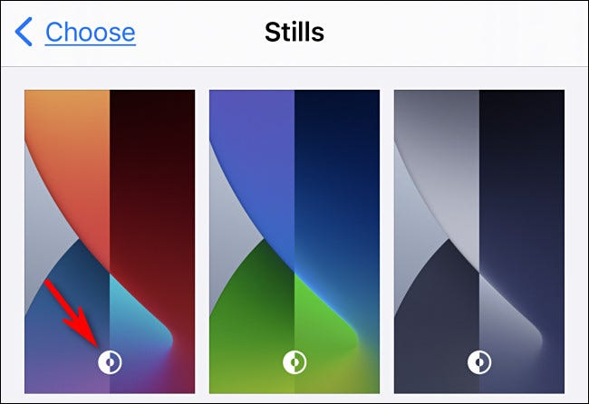 On the wallpaper select screen, choose a wallpaper with the dark mode logo.