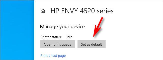 "In Windows 10 printer settings, click ""Set as default."""
