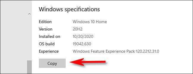 """In Windows Settings, click the """"Copy"""" button to copy your Windows specifications to the clipboard."""