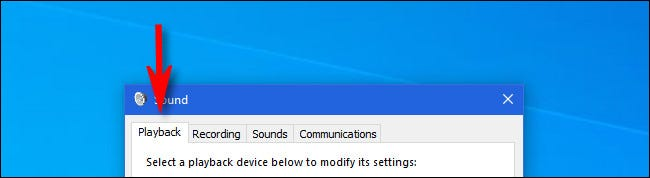 """In Windows 10, click the """"Playback"""" tab."""