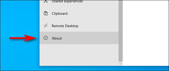 """In Windows Settings, click """"About."""""""