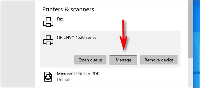 """In Windows 10 Settings, click the printer you'd like to set as default and select """"Manage."""""""
