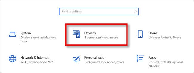 """In Windows 10 Settings, click """"Devices."""""""