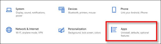 """In Windows Settings, select """"Apps."""""""