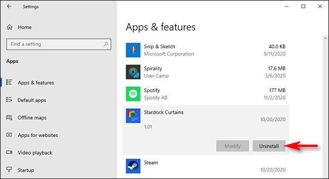 "In ""Apps & Features,"" select the app you'd like to uninstall, then click ""Uninstall."""