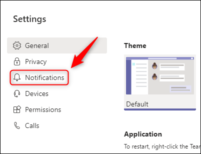 """The """"Notifications"""" option in the Setting menu."""