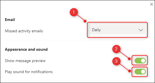 "The ""Email"" and ""Appearance and sound"" notification options."