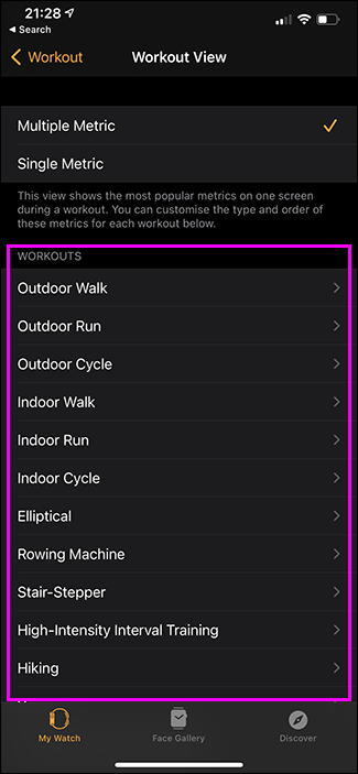 activities in watch app on iphone