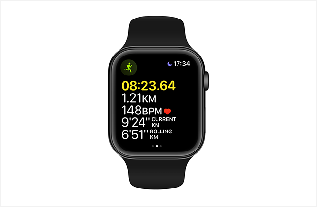 yellow highlighting distance on apple watch