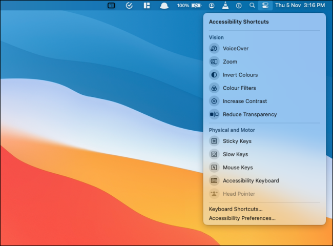 Accessibility Shortcuts in Control Center on Big Sur