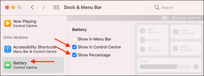 Add Battery Module to Control Center