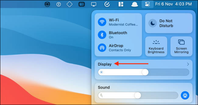 Click Display Module from Control Center