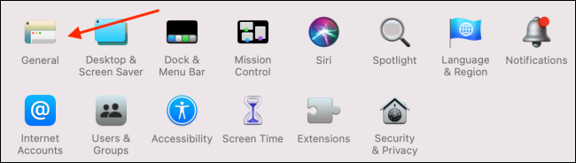 Click General in System Preferences