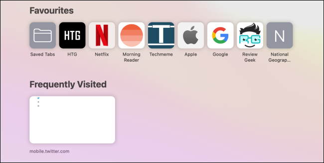 Favorites and frequently visited sections on the Safari home page