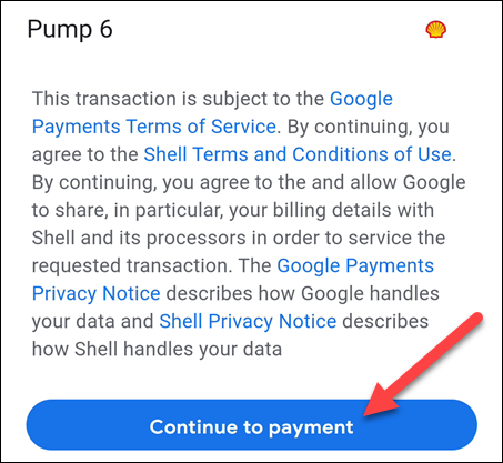 confirm pump and continue to payment