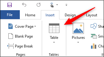Insert table option in Word