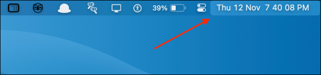 The clock with the time, including seconds, and the day and date in the Mac menu bar.