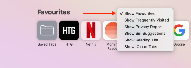 Quickly show or hide a Safari home page section