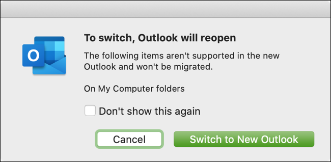 Click the Switch to New Outlook button