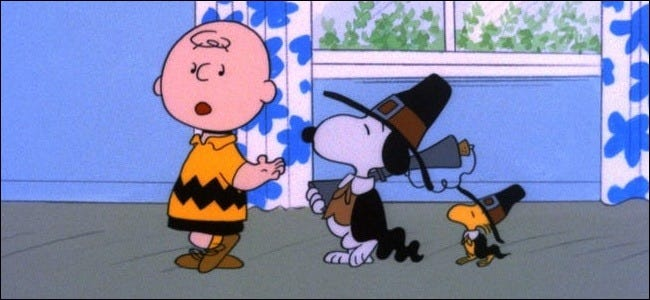 """Charlie Brown, Snoopy, and Woodstock in """"A Charlie Brown Thanksgiving."""""""