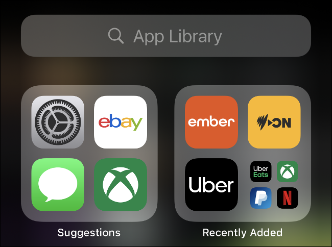 An iOS 14 App library and search bar.