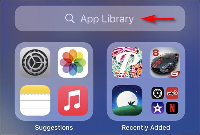 In the iPhone App Library, tap the search bar at the top of the screen.