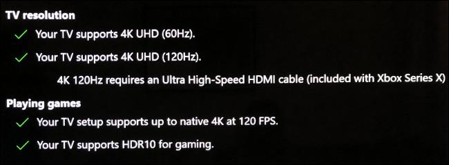 """As seções """"Resolução da TV"""" e """"Jogando jogos"""" no menu """"Tela da TV 4K"""" no Xbox."""
