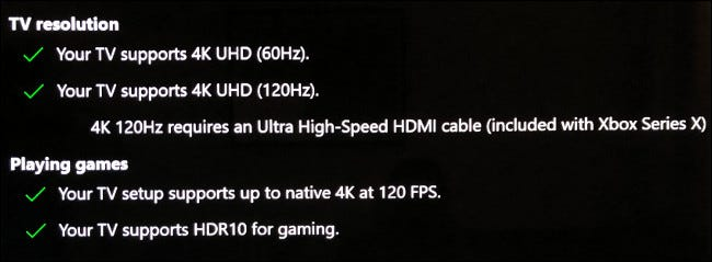 """The """"TV Resolution"""" and """"Playing Games"""" sections in the """"4K TV Display"""" menu on Xbox."""