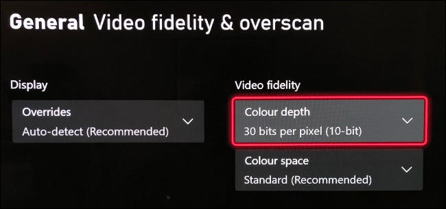 """Select """"Color Depth"""" in the """"Video Fidelity & Overscan"""" menu."""