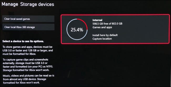 "The ""Manage Storage Devices"" screen on Xbox Series X."