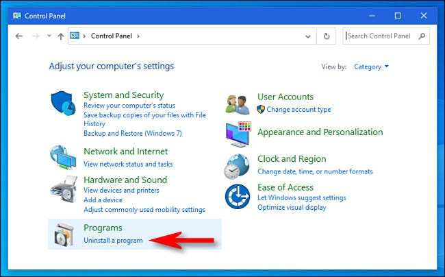 In the Windows Control Panel, click