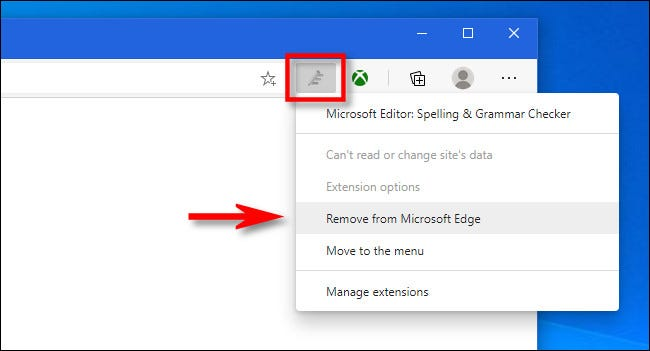 """Right-click the extension's toolbar icon in Edge and select """"Remove from Microsoft Edge."""""""