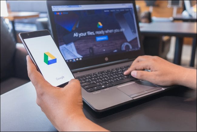 Google Drive on a smartphone and laptop