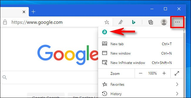 Once an extension has been moved to the menu in Edge, you will find it when you press the ellipses button.
